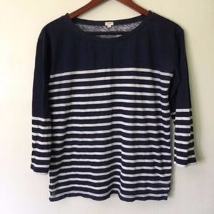 J. Crew // Factory Navy Striped Cotton Relaxed Tee